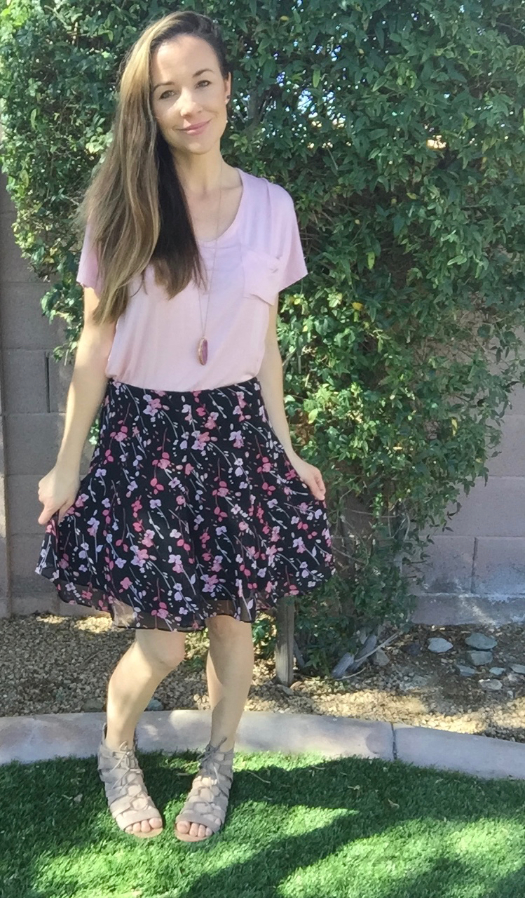 pink pocket tee + floral skirt