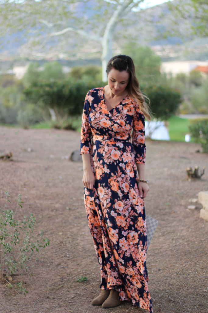 Navy + orange maxi dress giveaway!