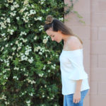White off the shoulder top + bell sleeves because spring is in the air!